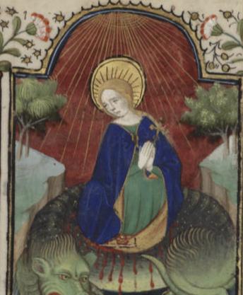 Santa Margarita saliendo del vientre del dragón